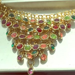 Beautiful colored necklace with gold hardware.